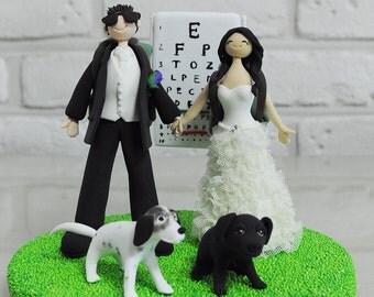 Custom Wedding Cake Topper, Optometrist eye doctor couple custom wedding cake topper, funny cake topper, decoration