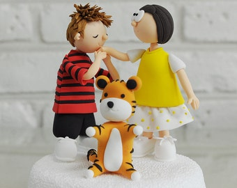 Calvin and Hobbes character custom wedding cake topper Decoration Keepsake