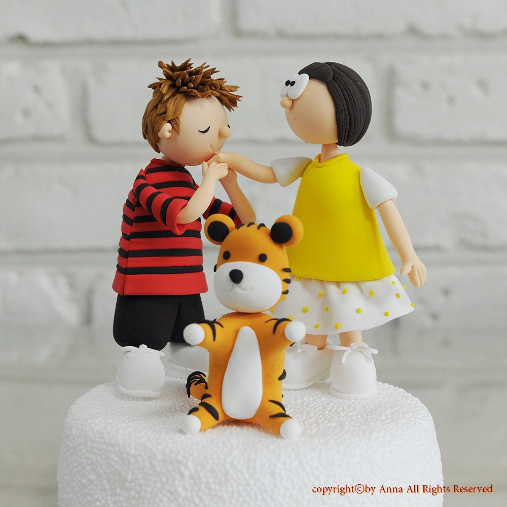 Calvin And Hobbes Character Custom Wedding Cake Topper