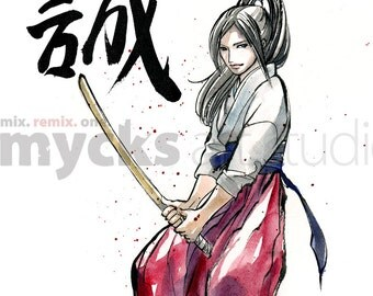 PRINT 8 x 10 Girl with Wooden Sword Calligraphy TRUTH