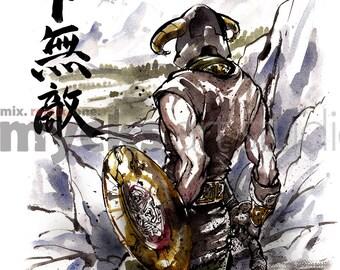 8x10 PRINT Skyrim Dragonborn Japanese Calligraphy Unbeatable