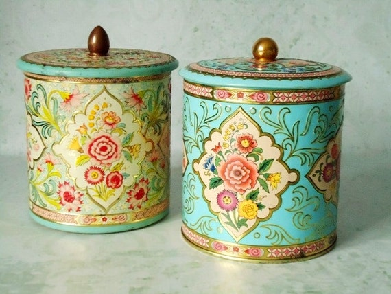 Vintage Floral Tin Storage Canisters Vintage Canisters
