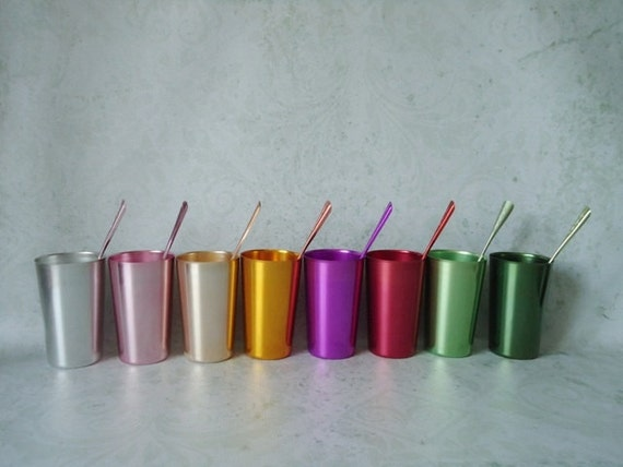 8 Retro Bascal Aluminum Tumblers and Stirrers - Colored Aluminum Rumblers - Retro Rainbow Drink Stirrers