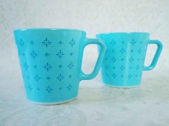 Vintage Pyrex Atomic Star Coffee Mugs, Vintage Turquoise Blue Pyrex Foulard Coffee Cups