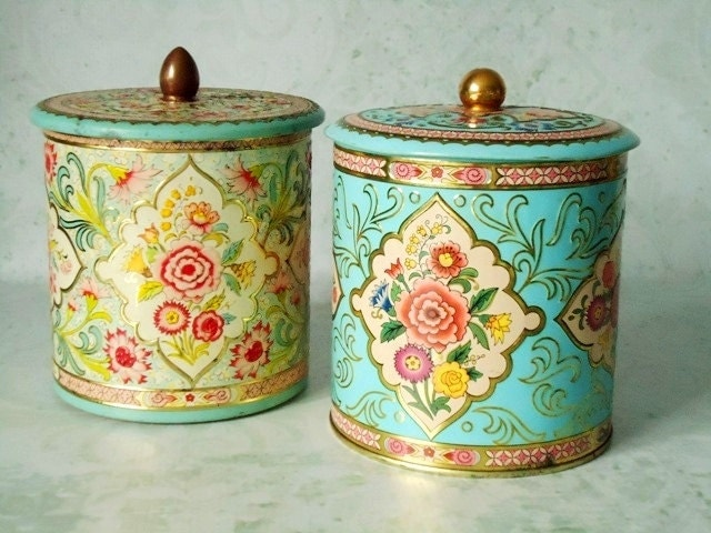 Vintage Floral Tin Storage Canisters Vintage Canisters. Kitchen With Copper Backsplash. Backsplash Tile Designs For Kitchens. Subway Tile Colors Kitchen. Affordable Kitchen Countertop Ideas. Kitchen Countertops. White Quartz Kitchen Countertops. Kitchen Bar Countertop. Wooden Kitchen Countertop