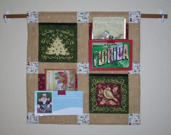 Wall Decor Card Holder : Items similar to quilted christmas card holder wall