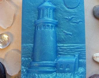 Lighthouse Soap Bar Handmade Glycerin Soap Blue Ocean Beach Nautical Shore Bath Art