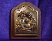 RESERVED Old Holy Family Wood Metal Relief Plaque Catholic Church