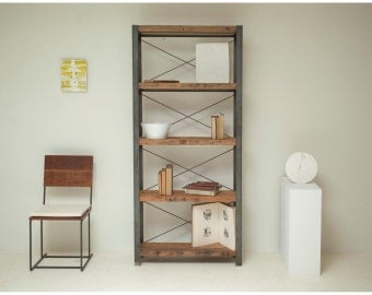 Reclaimed Wood and Steel 'Big Sur' Bookcase