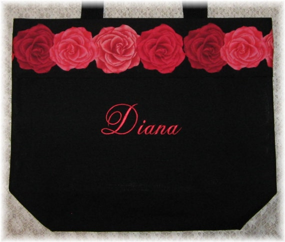 BRIDESMAID Gift Personalized Maid of Honor Large Canvas Tote Bag Wedding bridal party mother of the bride gift black white red accent