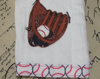 Baseball Embroidered Burp Cloth