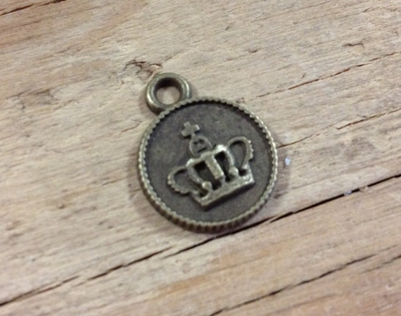 Crown Coin Charms Antique Bronze Finish lot of 6