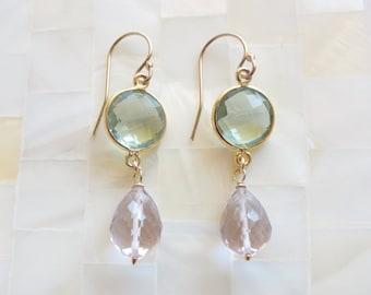 Faceted Green Amethyst Vermeil Bezel Connector & Pink Amethyst Briolette Dangle Earrings (E1153)