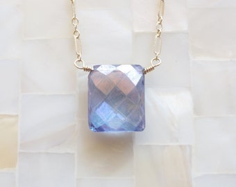 Faceted Mystic Blue Quartz Briolette Pendant on Gold Chain Necklace (N1295)