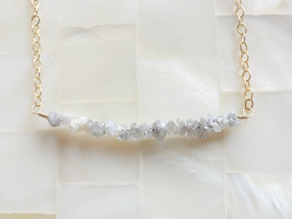 Sparkling Silver Gray Rough Diamond Rondelle Bar on Gold Chain Necklace