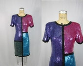 80s Sequin Dress / Color Block Puzzle Beaded Party Formal // Small Medium
