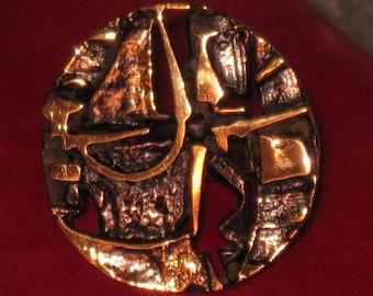 HUGE SCULPTURAL adjustable Jorma Laine bronze ring vintage from Finland