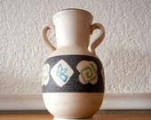 Mid Century Vase, Atomic, White with Black Band