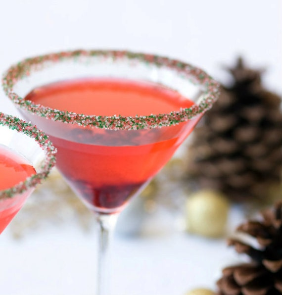 Christmas Cocktail Sugar Green Red Drink Rim By Dellcovespices