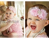 SALE Pink petti lace romper and headband SET, petti romper,baby headband, flower headband,vintage inspired headband and lace petti romper