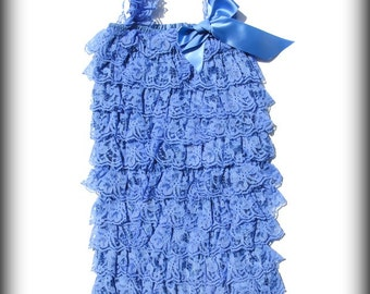 CLEARANCE Periwinkle Lace Petti romper, lace petti romper, petti romper, romper, ruffle romper