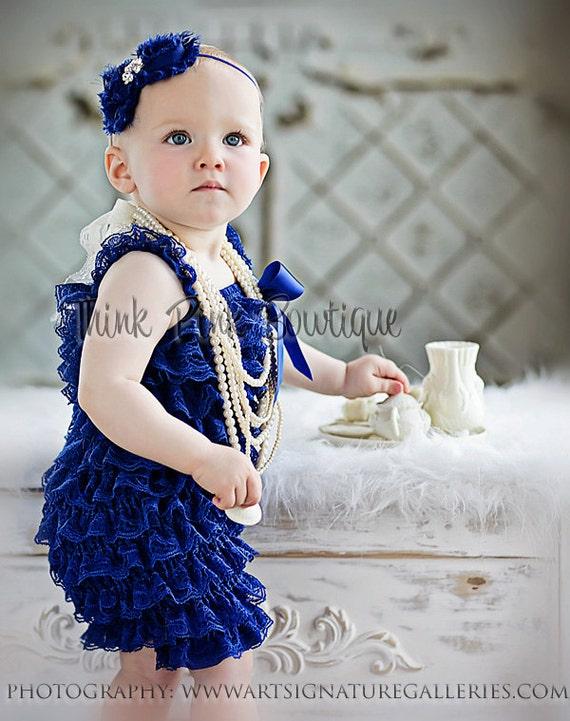 Royal Blue Petti lace romper, lace romper,lace petti romper, petti romper, girls petti rompers, blue lace romper, ruffled lace romper.