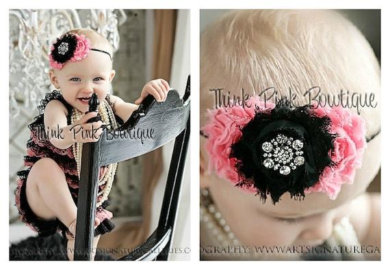 Black &coral petti lace romper and headband SET, petti romper,baby headband, flower headband,vintage inspired headband and lace petti romper