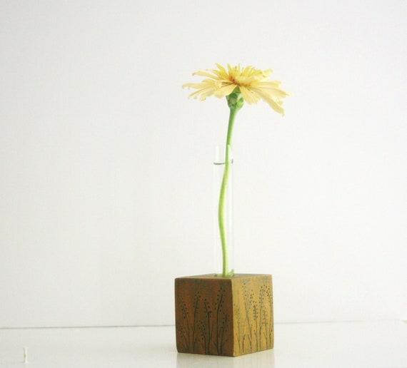 Bud Vase, Test Tube Flower Vase, etched and painted wood cube base.