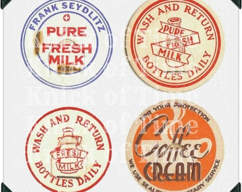 Vintage Milk Cap Images - Digital Download for Papercrafts, Transfers, Pillows, Scrapbooks - 5 Images