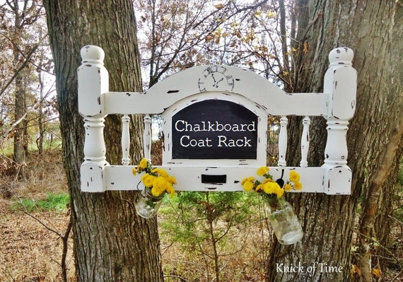 Chalkboard Coat Rack - Wall Hooks - Made from Vintage Bed Headboard