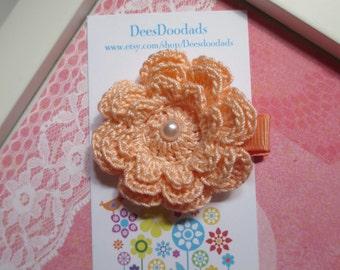 Pale Peach Three Layer Crochet Flower Hair Clip