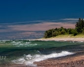 Lake Superior shore, a large 12 x 36 color print mounted on 3/16 Matboard