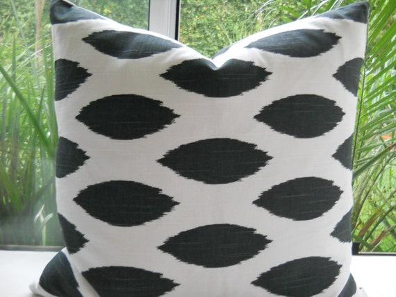 Pillow Cover...Beautiful Decorative Designer Fabric...20x20 Throw Pillow...Black White...