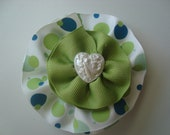 White with Aqua, Teal and Pistachio Green Polka Dotted Hair Clip