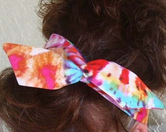 Dolly Bow Tie Dyed Multi Colored Funky Wire Headband  Teen Girl Woman
