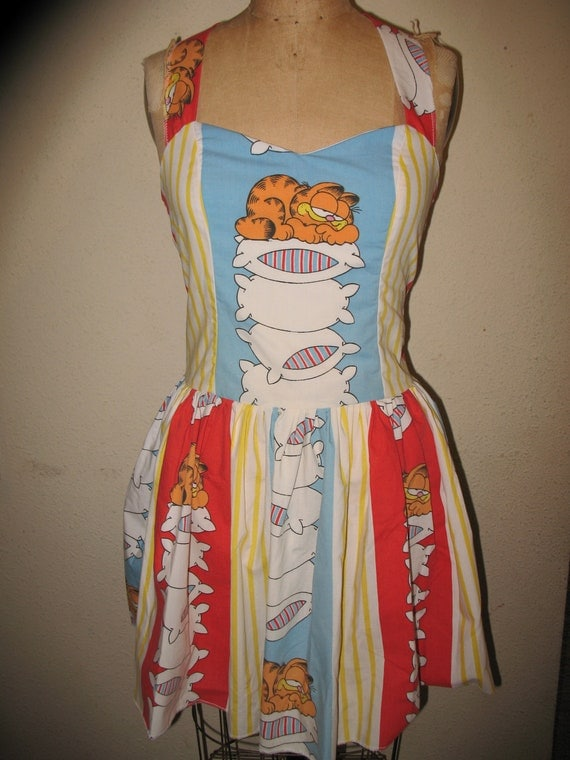 SALE Custom Made to Order Garfield Lazy Lasagna Lover Upcycled SweetHeart Halter Mini Dress