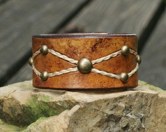 Horse Hair and Leather Cuff Hand Dyed Buckskin Color - Braided Horsehair
