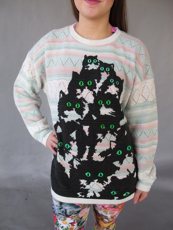 Pastel Crazy Kitty Sweater