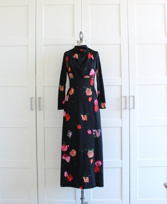 Vintage Long Sleeve Dress, 60s 1960s Maxi Dress, Black Floral Dress, size Small Medium