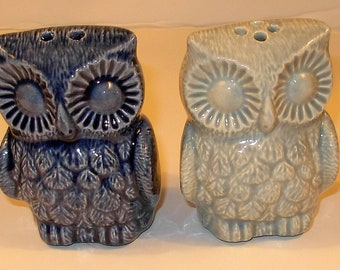 Hootie Hoot Hoot - Ceramic Owl Salt and Pepper Shakers  -  Dark Blue and Celedon