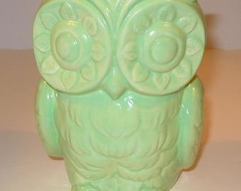 Tiki Owl Ceramic Owl Planter - Vintage Design  -  Iced Mint Green