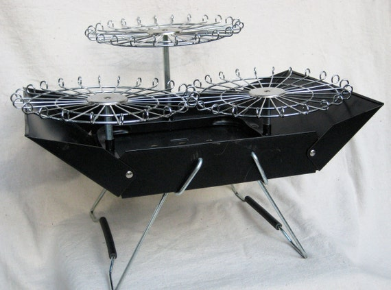 Vintage 1980s 3 Tier Rotisserie Fold Up Rotary Picnic Barbecue Grill MINT Camping Tailgate