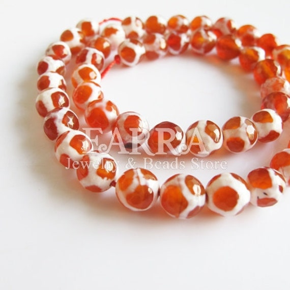 Red & White Dzi agate beads, 8mm 46 pieces14 inch strand, turtle grain faceted round natural agate beads