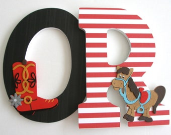 Hanging Wood Wall Letters - Country Western Theme - Baby Boy Custom Wooden Letter Set