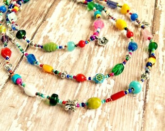 colorful long beaded necklace, boho jewelry, multicolored necklace, multistrand necklace
