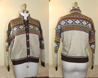 1950s Beautiful  Hand made Fair Isle Wool Sweater  Size L