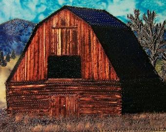 Montana Barn Stitched Art Card