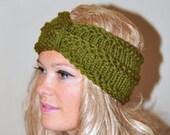 Turban Headband Crochet Head wrap Knit ear warmer Earwarmer CHOOSE COLOR Olive Green Moss Warm Knit Gift under 25