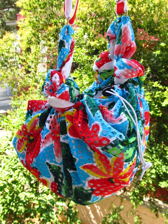 Cross body shoulder bag colourful green red blue flowers furoshiki style summer bag