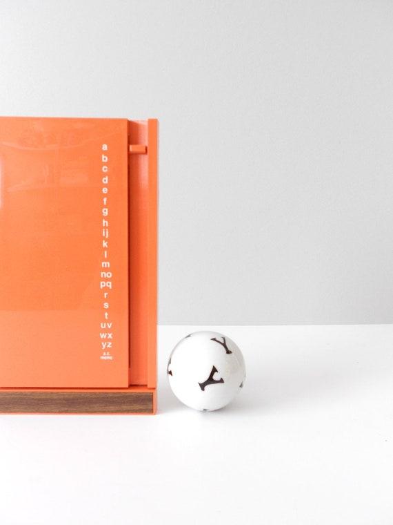 bright orange retro eldon office address book 1970s // free gift wrapping